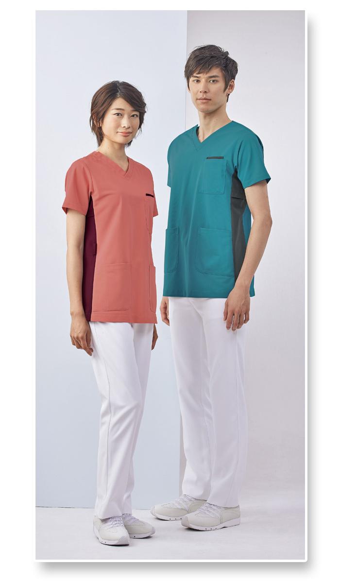 72-720 7色の半袖スクラブ モデル画像