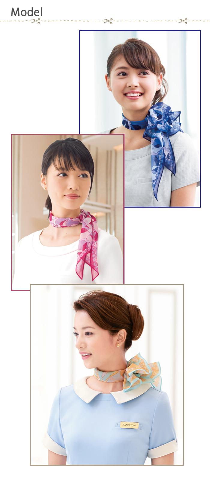 8075華やか花柄スカーフ 長方形タイプ モデル着用例
