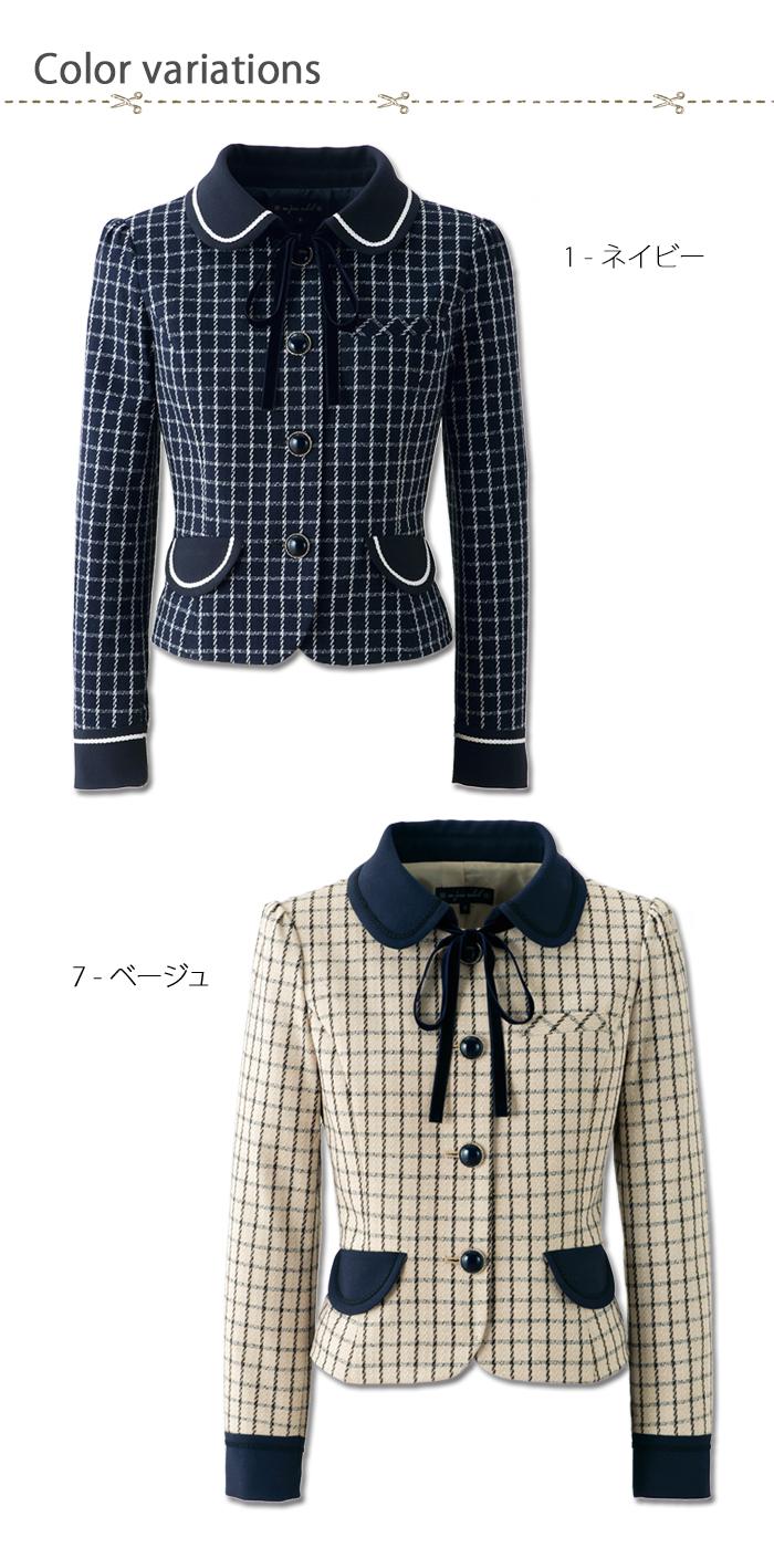 81630チェック柄のキュートな丸襟ジャケット 色展開