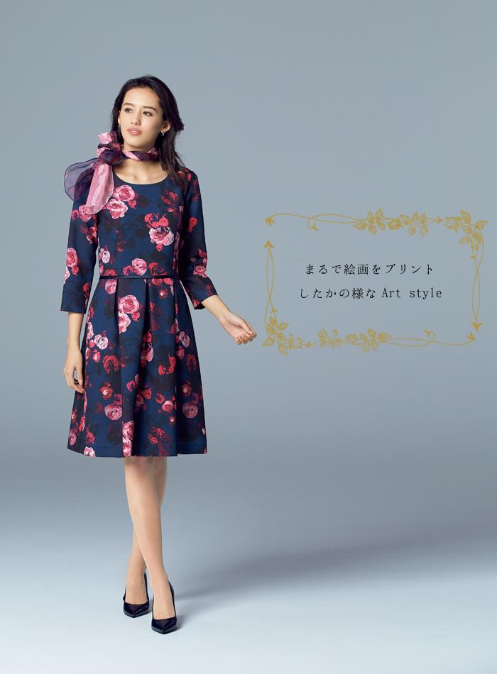BCO5102 ローズ柄が美しい華やかワンピース モデル画像