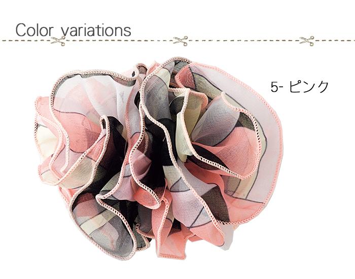 OP129ピンクのふんわりコサージュ ヘアアクセも可能 色展開説明