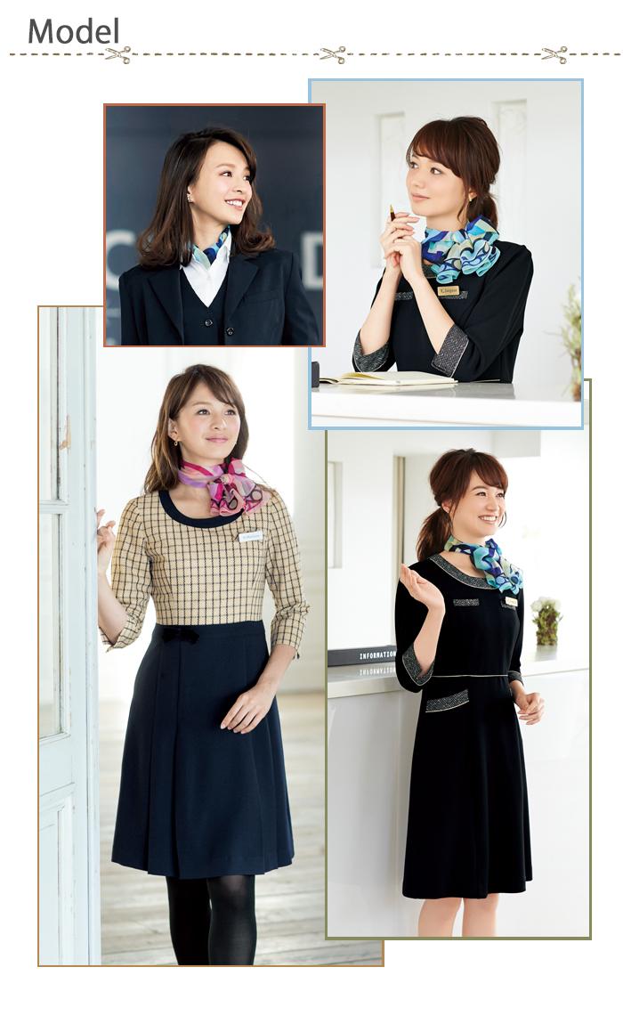 OP98円模様の艶やかスカーフ モデル着用例